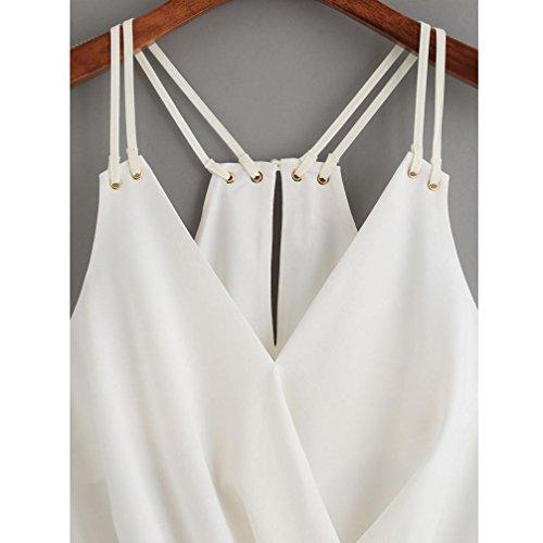 Damen Chiffon Tops, Bekleidung Longra Damen Ärmelloses Casual Tank Tops Weste Cami Shirt Bluse White