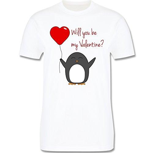 Valentinstag Geschenk Frauen - Will you be my Valentine - Pinguin - Herz - Luftballon - L190 - Premium Männer Herren T-Shirt mit Rundhalsausschnitt Weiß