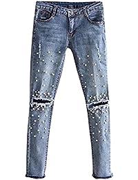 Huateng Jeans Donna Jeans Dritti Pantaloni a Matita - Pantaloni a Vita  Bassa Elasticizzati Donne Rivetto Perla Jeans Pantaloni Jeans… ce55e390f81