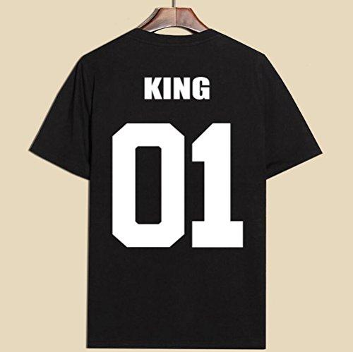 JWBBU Couple T-shirt Eté Amants chemise imprimer Lettre de King ou Queen Casual T-Shirt Tops Col Rond Noir-King