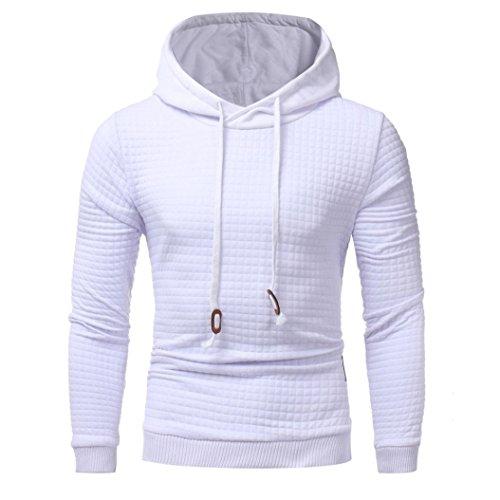 Herren Langarm Hoodie Sweatshirt Tops Jacke Männer Mantel Outwear (M, Weiß)