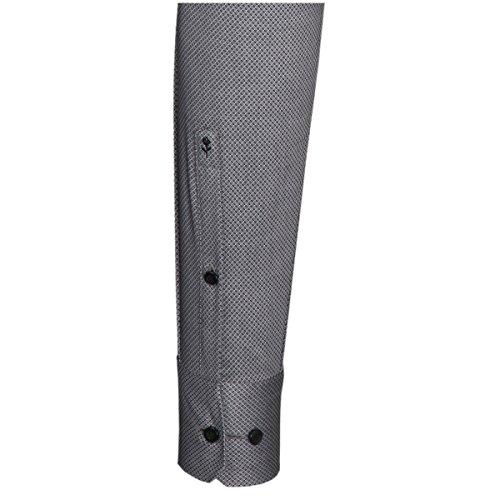 Seidensticker Herren Langarm Hemd Schwarze Rose Slim Fit Paul grau / weiß strukturiert mit Piping 242030.33 Grau
