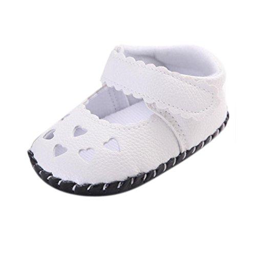 Koly_Scarpe Neonato Bambino Bambini Ragazze cuori ricamati suola infantile delicatamente Scarpe Sandali (SIZE 13, White)