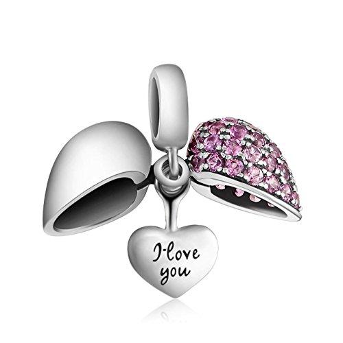 """Echtes 925Sterling Silber Charms–""""I Love You"""" Dual Herz Baumeln Gewinde Bead Anhänger für Halskette für Pandora Chamilia Biagi Trollbeads Armband von Bellamira (Armband"""