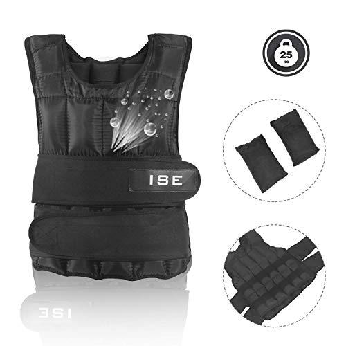 ISE Gewichtsweste Verstellbar von 5 kg 10 kg 15 kg 20 kg 25 kg 30 kg Gewicht Warnwesten für Gewicht Training Krafttraining Übung (25)