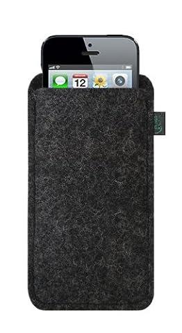 Krings Fashion Filztasche für Apple iPhone 5 Filzfarbe anthrazit/blanko