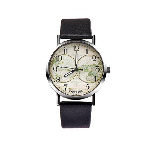 OdeJoy Herren Damen QuarzUhr Schick Unisex Leder BandAnalog LegierungUhren Vintage Design Armbanduhren Sport Uhren Fashion Smart Watches Damenuhren Mädchen Armbanduhr (Schwarz,1 PC)