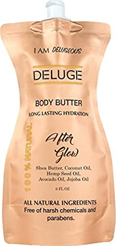 DELUGE - Body Butter- Afterglow -100% Natural. Shea Butter, Coconut Oil, Hemp Seed Oil, Avocado Oil, Jojoba Oil. 6