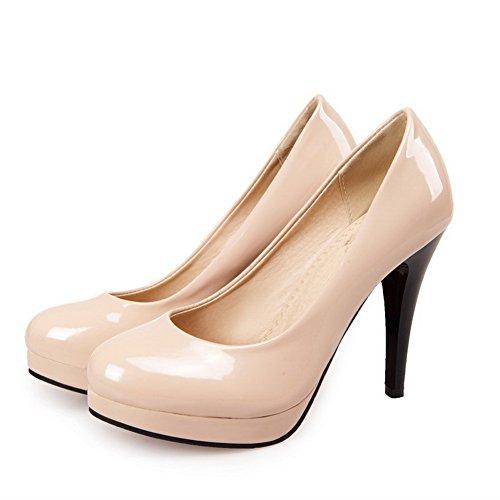 balamasa Mesdames Baskets Dessus Cuir Verni à enfiler pumps-shoes abricot