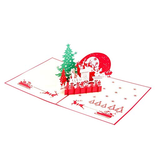 TENDYCOCO Christmas Card 3D Pop Up Christmas Eve Holiday Xmas Greeting Cards Party Supplies Invitation with Envelope Handmade Gift
