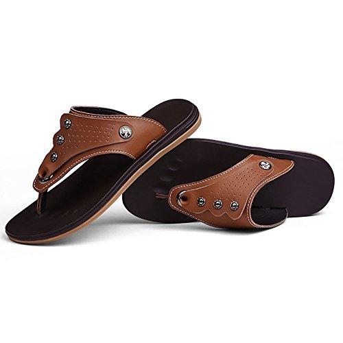SHANGXIAN Fashion New Style echtes Leder rutschfeste Flip Flops/Hausschuhe/Herrensandalen für tägliches Leben/Strand Brown