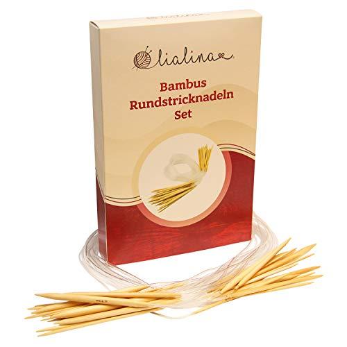 Lialina® 17-er Pack 100 cm Lange Bambus-Rundstricknadeln/XXL-Stricknadel-Set aus Bambusholz mit Kunststoffschlauch/Stärken 2 - 10 mm