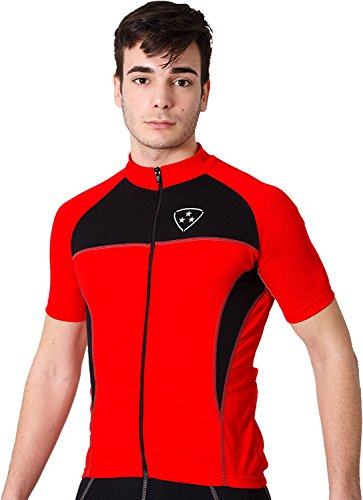Deporteshera - Ropa ciclismo, Maillot Mangas Cortas, Camiseta Ciclismo, Color Rojo/Negro-Talla:L