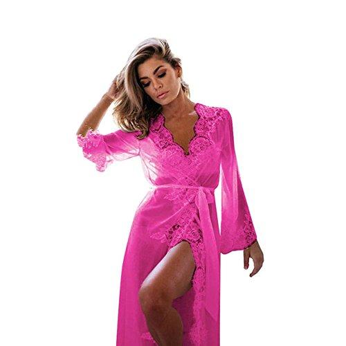OVERMAL Damen Nachthemd Nachtkleid Spitze Nachtwäsche Bra Strap Unterwäsche Dessous Negligees (M, Heiß Rosa)