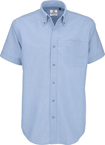 B C & Oxford Smart S-Sleeve-eleganti da uomo in cotone con angoli elasticizzati, per adulti, in tessuto tecnico Blu