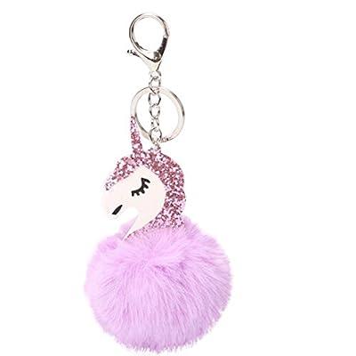 Tangbasi Cute Unicorn Fluffy Key Chain Keyring Purse Bag Pendant Decor Accessory