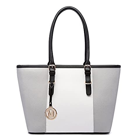 Miss LuLu Women's ladies Designer Celebrity Tote Bags Faux Leather Style Shoulder Shopper Handbags Adjustable Handles(E1661 Grey)
