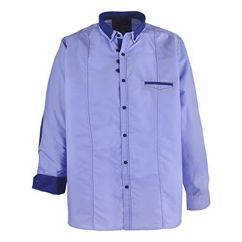 Camisa de manga larga en azul claro / Lavecchia hasta talla 7XL - Azul, 7XL, Azul
