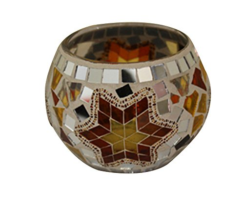 niceEshop(TM) Mosaic Glass Votive Candle Light Holder Centerpieces for Party (Golden)