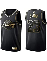 0a21ec647a0f KKSY Camiseta de Baloncesto Hombres James Lakers # 23 Black Gold Color  Match Retro Fitness Camiseta