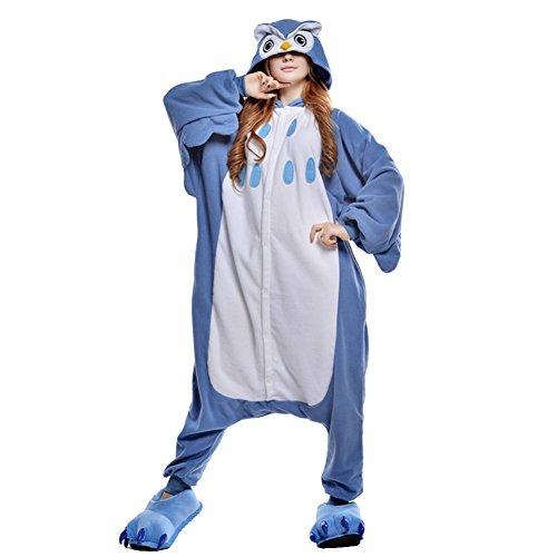 Tierkostüme (Free Fisher Damen/ Herren Schlafanzug Pyjama, Tier Kostüm, Blaue Eule, Gr. M (Körpergröße 160-169)