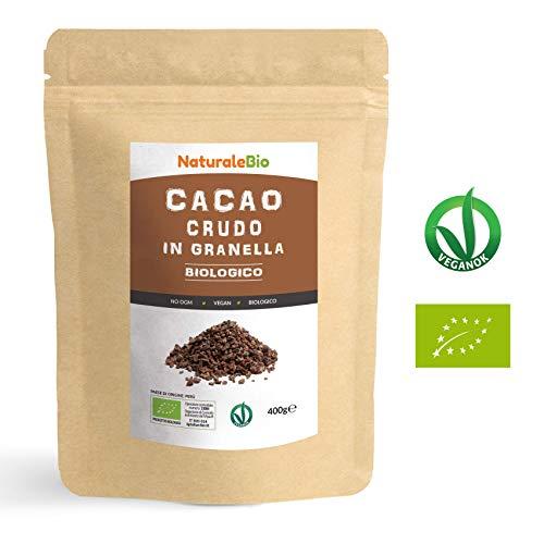 Granella di Cacao Crudo Biologico da 400g. 100{63041f042357eb04019fb9c24cd52de039b1cf5a0dfed6f036b1f713a34a13d7} Bio, Naturale e Puro. Prodotto in Perù dalla Pianta Theobroma Cacao. Superfood Ricco di Antiossidanti, Minerali e Vitamine. NATURALEBIO