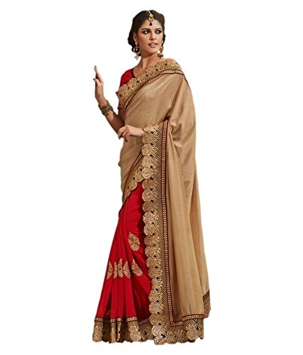 Clickedia Women's Heavy Embroidered Georgette Beige Red Saree with matching blouse pc  available at amazon for Rs.299