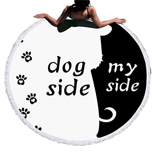 Sticker Superb Blanco Negro Dog Side and My Side Toalla