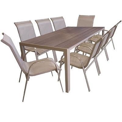 9tlg Gartengarnitur Sitzgruppe Gartenmöbel Set Aluminium Gartentisch mit Polywood Tischplatte 205x90cm Stapelstuhl pulverbeschichtet mit Textilenbespannung Champagner
