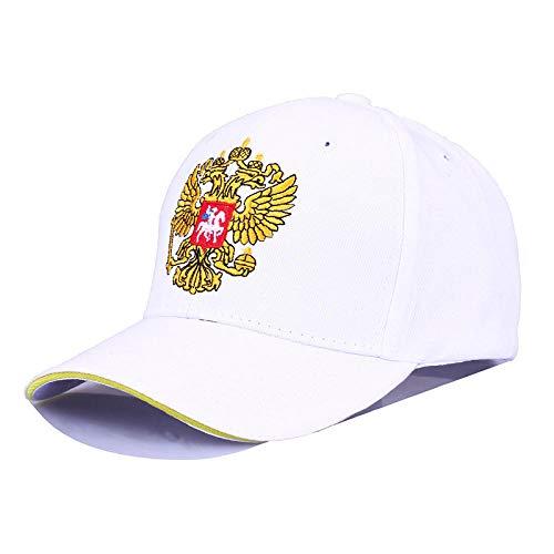 ADLMNJDFR Outdoor Baseball Cap russische Abzeichen Stickerei Mode Sport Cap männlich und weiblich Patriot Hut Knochen Visier, weiß -