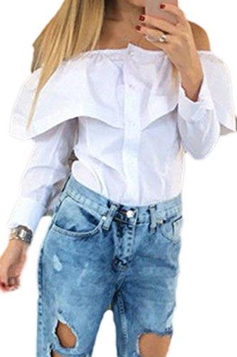 Damen Sind Von Der Schulter Gingham T - Shirt Langarm - Tops White