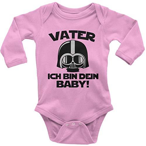 Mikalino Babybody mit Spruch für Jungen Mädchen Unisex Langarm Vater - ich Bin Dein Baby! | handbedruckt in Deutschland | Handmade with Love, Farbe:rosa, Grösse:56