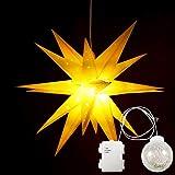 Erwei 3D Faltstern Leuchtstern Adventsstern Weihnachtsstern mit 18 Zacken Stern 3D Kunststoff Ø 60cm Fensterstern hängend 75cm LED Kugel (Gelb Neu ohne Lampe)