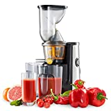 Extracteur de Jus Twinzee - Sans BPA - Large bouche 75mm, Certifié CE, Nettoyage Facile avec Brosse Incluse - Extracteur de jus de Fruits et Légumes Vertical - 60 rotations par minute - 2 Tamis