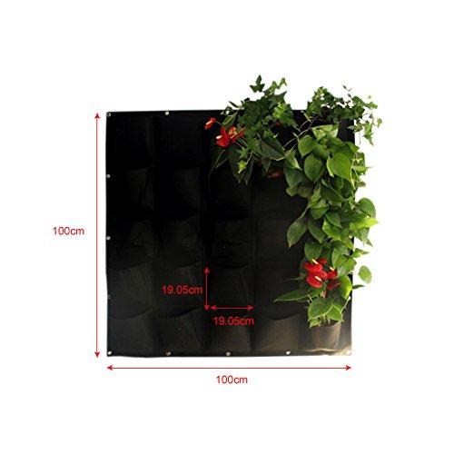 UniEco vertikale hängende Pflanztasche Wand-Pflanzkissen für Wandbegrünung mit 25 kleinen flachen Pflanzbeuteln, Schwarz
