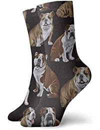 ae0af33a42a English Bulldogs Men Women Novelty Funny Crazy Crew Sock Printed Sport  Athletic Socks 30cm Long Personalized