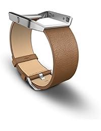 Fitbit Blaze - Correa de cuero y marco de metal, color Camel, talla L