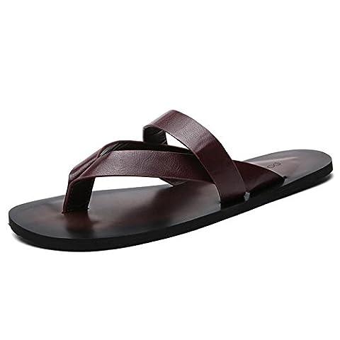 SHANGXIAN Herren Schuhe Outdoor Casual Flip-Flops Outdoor Casual Sport Sandalen Flat Lederabsatz, schwarz braun , brown , 44