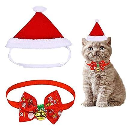 WELLXUNK Haustier Justierbare Weihnachtssankt Hut, 3 Stück Weihnachten Haustier Hut Kragen Fliege für Kleine Hunde Katzen Haustier, Haustierkostüm