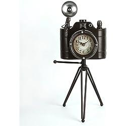 Gran cámara y trípode de metal Vintage cuarzo reloj de mesa