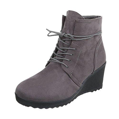 Ital-Design Keilstiefeletten Damen-Schuhe Plateau Keilabsatz/Wedge Keilabsatz Schnürsenkel Stiefeletten Grau, Gr 37, Zy9084-