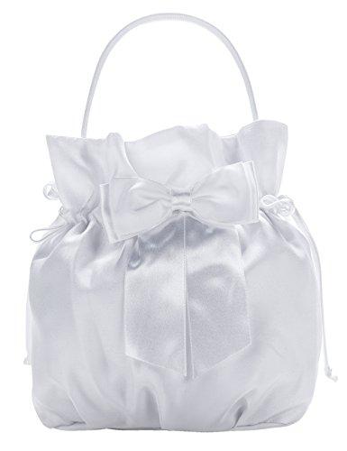 Princess Taufkleid Brautbeutel aus Satin in Weiß und Ivory Weiß/Beutel