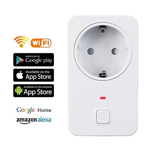 Enchufe Inteligente Wifi ,Control Remoto por APP, con Tempolizador, Smart Plug Inalámbrico Enchufe Control Remoto Controlar sus dispositivos desde cualquier lugar (Funciona con la Aplicación Android y IOS , Amazon Alexa[Echo and Echo Dot], Google Home)
