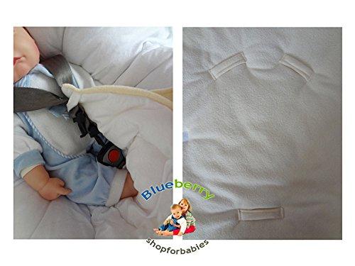 BlueberryShop Warm Thermo Frottee für AUTOSITZ Wickeldecke für Neugeborene, GESCHENK für Baby 100% Baumwolle, 0-4M ( 0-3m ) ( 78 x 78 cm ) Weiß