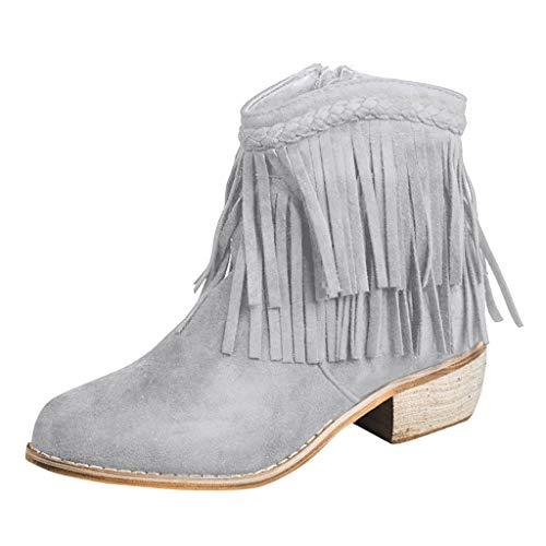 Frashing Mädchen Ankle Boots Stiefel mit Fransen Stiefel Damen Winter Schuhe Damenstiefel mit Blockabsatz Elegant Chelsea Bootie Frauen Kurzschaft Stiefel (Grau,37 EU)