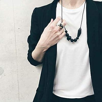 HEXA Noir - Collier d'allaitement, de portage et anneau de dentition, bijou cadeau naissance