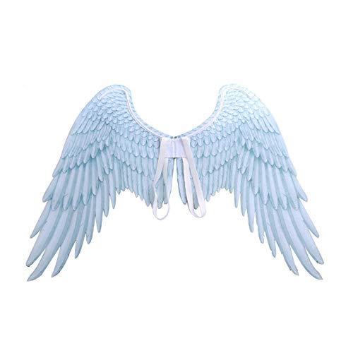 Rolansy 3D-Engelsflügel, Feder, Feen-Flügel, Halloween-Kostüm, Zubehör für Kostümpartys, weiß, M (Verschiedene Arten Von Engel Kostüm)