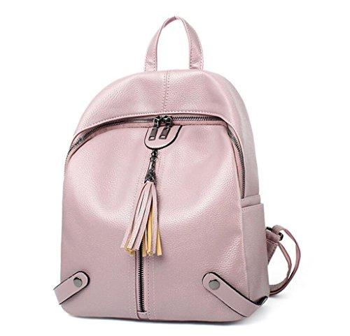 SHFANG Damen Rucksack Student Schultasche Fringed Mobile Doppel Schultertasche Freizeit Bewegung Einfache Shopping Tourismus , wine red pink