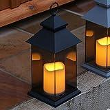 Festive Lights - Farol LED para jardín (Funciona con Pilas, para Interiores y Exteriores, 31 cm), Color Negro