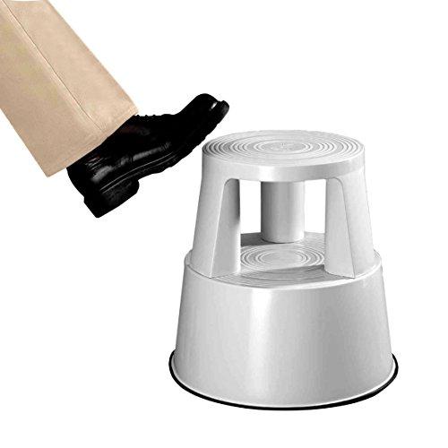 neoLab 2-2048 Steighilfe aus Metall mit Rollen, Lichtgrau